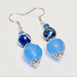 Pretty Blue Chalcedony Crystal & Sodalite Earrings